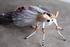 white-orange moth softsculpturArt insect. Home von mysouldesign