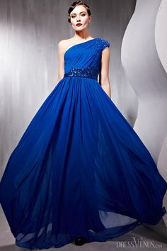 Fantastic A-line One-shoulder Floor-length Empire Evening Party Dress