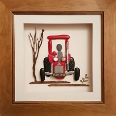 Happy 80th birthday Dad #masseyferguson #oldtractors #classictractor #vintagetractor #birthdaypresent #80thbirthday #dadsanddaughters #presentsfordads #pebbleart #perfectpresents #pebblepicture #boxframeart #hamdmade #madeinwales #presentsforfarmers #paintedpebbles