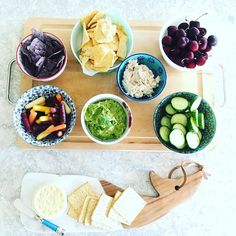 "Love this easy lunch idea from @lizweiss. Great way to use up any bits and pieces hanging around from the long weekend. Liz says: ""Guacamole made with a big handful of cilantro and lime gorgeous fresh cherries creamy cheese from Vermont chicken salad rainbow carrots and English cucumber."" Yum. Thnx Liz."