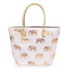 Elephant Print Beach Bag – Taylor & Jackson Elephant Design, Cute Elephant, Elephant Print, Taylor Jackson, Beach Essentials, Gold Print, Powder, Super Cute, Easter