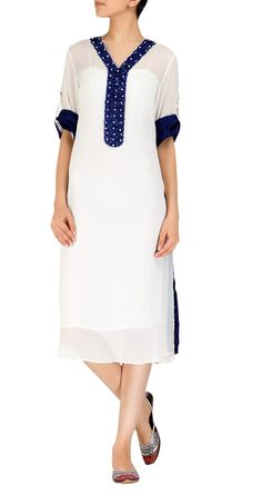 Chiffon white kurta with blue details by Ayesha Khurram. Summer fun.