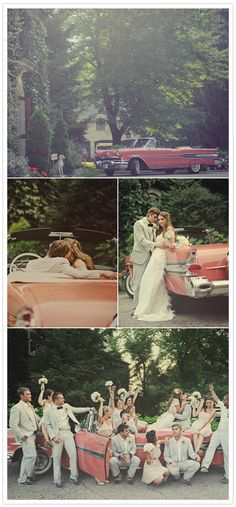 This wedding is so cute, especially these pictures with the classic car!