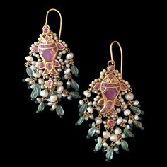 From Rajasthan: A Pair of Spinel and Diamond Fish Earrings, Century, Length: 9 cm.
