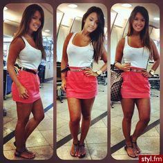 Pink skirt, white tank, belt