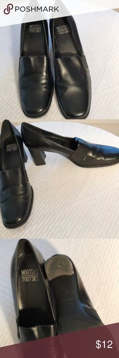 Shoes Black two inch heeled slip on shoes. Mootsies Tootsies Shoes