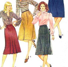 Vintage Uncut Simplicity 6372 Sewing Pattern Misses Skirts Size 12