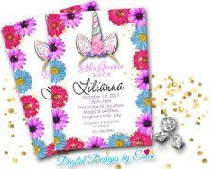 Pinterest pink daisys unicorn invitationmagical birthday invitationunicorn quicenera birthday invitation quince birthday invitation size 5x7 filmwisefo