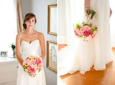 Pretty, simple gown and lush flowers....