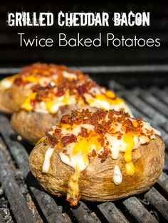 Grilled Cheddar Bacon Twice Baked Potatoes Recipes - Tofu Bowl Rezepte Grilled Baked Potatoes, Baked Potato Recipes, Twice Baked Potatoes, Creamy Mashed Potatoes, Bacon Recipes, Oven Recipes, Side Dish Recipes, Cooking Recipes, Side Dishes
