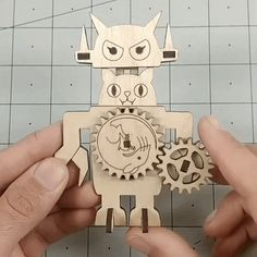 I designed this automata kit for the Neko Show at Giant Robot Store. You can purchase kits here. Origami Templates, Box Templates, Diy Home Crafts, Arts And Crafts, Mechanical Art, Kid Experiments, Simple Machines, Stem Projects, Paper Snowflakes