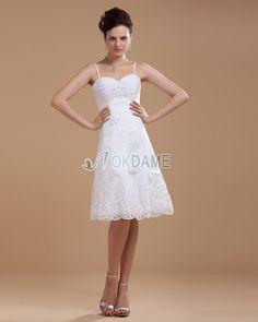 Elastischer Satin ärmellos Perlenbesetztes romantisches Brautkleid mit Empire Taille mit Spaghettiträger
