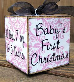 Baby's First Christmas Block (4 Sides - Name, Birthday, Weight, Baby's First Christmas)