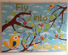 Homeschool classroom bulletin board. Boho Birds.