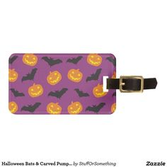 Halloween Bats & Carved Pumpkins on Purple Bag Tag