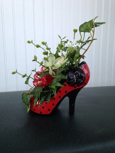 Items similar to Red Glass Diva High Heel Shoe Flower Arrangement for Ladies Room or Salon on Etsy - Valentines Day Garden Crafts, Garden Art, Garden Ideas, Deco Floral, Floral Design, Recycled Shoes, Recycled Crafts, Shoe Crafts, Diy Crafts
