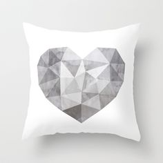 Fractal heart in 50 shades of gray Throw Pillow by cafelab