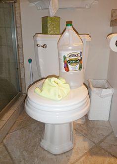 Use 1 parte de vinagre y 3 partes de agua, lavar los productos a fondo. (2) Limpie las ventanas y mostradores - Use una mezcla de agua y vinagre al 50% para limpiar ventanas y mostradores. (3) Retire ducha y bañera película - Use el vinagre sin diluir en un viejo trapo de lavado. (4) las manchas de inodoros - Use vinagre blanco destilado sin diluir con un depurador. (5) La cera para muebles - Utilice un aceite de oliva y vinagre mezcla de 50% y furnitur polaco ...