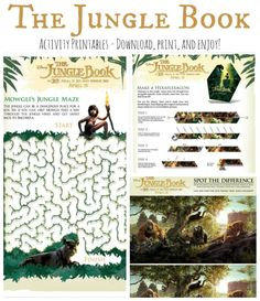 Download these fun The Jungle Book Activity Printables!