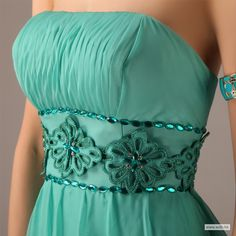 wedding colors Fashion strapless with beaded empire waist chiffon bridesmaid dress $138.98