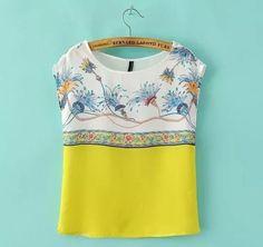 blusa amarela seda georgete sem mangas estampa flores promo