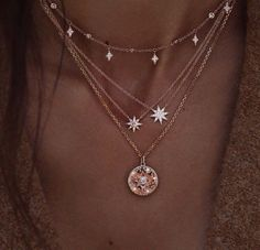 Delicate Layered Necklace with Stars, Multilayer Celestial Gold Necklace with Crystals Zarte geschichtete Halskette mit Sternen, Multilayer Celestial Gold Neckla – ElvenMeadow Cute Jewelry, Jewelry Accessories, Fashion Accessories, Women Jewelry, Jewelry Shop, Pretty Necklaces, Beautiful Necklaces, Fashion Jewelry Necklaces, Cheap Jewelry