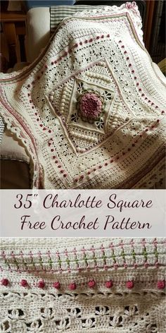 Charlotte Crochet Square is a large square pattern. Dense overlay stitches combine with more lacy parts to create a delicate, vintage feel. The pattern is written for double-knit yarn, but you can use any yarn/hook combination you prefer, provide Granny Square Crochet Pattern, Crochet Blocks, Crochet Motif, Crochet Stitches, Crochet Granny, Free Crochet Square, Crochet Square Blanket, Crochet Squares Afghan, Crochet Afghans