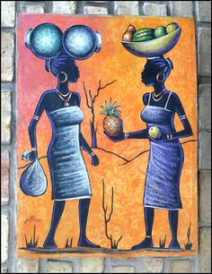 Haitian Market Women  Original Naive Art  by TropicAccents on Etsy, $119.95   Haitian Art  #Haiti