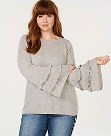 3c18292e574 Charter Club Plus Size Pure Cashmere Double-Ruffle Sweater
