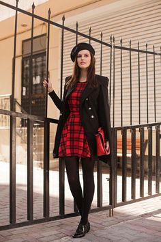Viktoriya (www.tiebow-tie.com/) in a WearAll tartan dress
