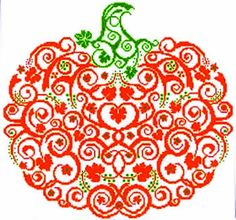 This delightful pumpkin is stitched on 28-count white Cashel  linen (3281-100) or 14-count white Aida (3706-001).  The model used DMC floss