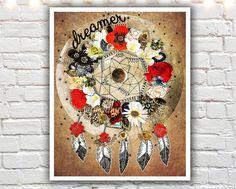 Dreamer  giclee print dream catcher print bohemian art by Jenndalyn