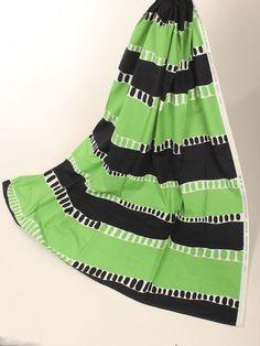 "Vtg Fin-Helen Finland Maila Kievari 70s Handprinted Green Black ""Raidat"" Modern"