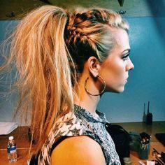 viking ponytail women - Google Search Ponytail Hairstyles, Pretty Hairstyles, Braided Ponytail, Hairstyle Short, Hairstyle Ideas, Hairstyles 2016, Rocker Hairstyles, Fishtail Braids, Funky Hairstyles For Long Hair