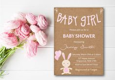Printable Baby Shower Invitation Girl  Rustic by OhSoPrettyDesignz