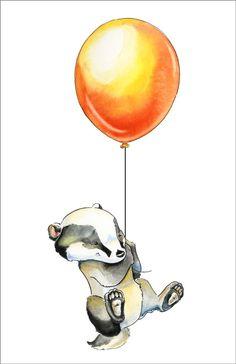 Blaireau avec ballon vinyle Wall Decal - illustration aquarelle originale - sticker pour enfants