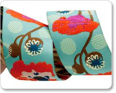 "1-1/2""  Orange/Turquoise Raindrops on Poppies - Anna Maria Horner picture"