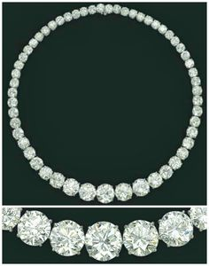 Magnificent diamond rivere necklaceset with fifty-five graduated brilliant-cut diamonds, weighing approximately 117.31 carats in total, and mounted in platinum. Via Diamonds in the Library.