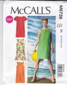 McCall's Sewing Pattern 6739 Misses Sizes 16-24 Easy Pullover Loose-Fitting Summer Dress  $14.99