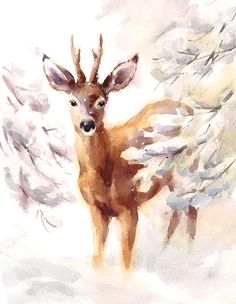 Watercolor illustration of a Deer walking by in a beautiful snowy woods. Watercolor Christmas Cards, Christmas Drawing, Christmas Paintings, Christmas Art, Watercolor Deer, Watercolor Animals, Watercolor Paintings, Watercolor Fabric, Ink Painting