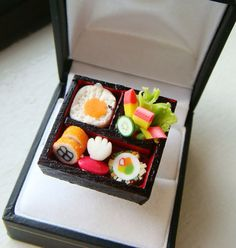 Miniature Food Ring - Bento Box Meal - Cute Kawaii Food Jewelry