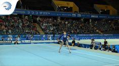 Gymnast Veronika Cenkova perform floor routine Artistic Gymnastics, European Championships, Hockey, Routine, Basketball Court, Flooring, Sports, Hs Sports, Field Hockey
