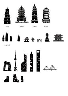 Ancient and modern chinese architecture silhouette vector Free . Mini Farm, Chinese Architecture, Silhouette Vector, Travel Themes, Graphic Design Art, Shanghai, Adobe Illustrator, Vector Free, Illustration