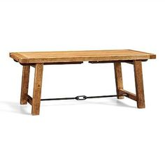 "Benchwright Extending Rectangular Dining Table, 74 x 40"", Vintage Spruce finish"