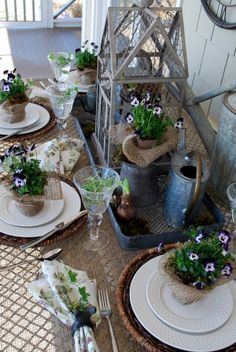 summer table setting for garden luncheon