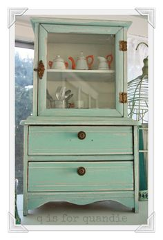 tiny hutch painted in MMS Eulalie's Sky