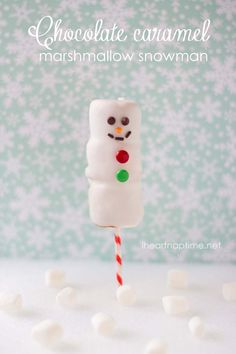 Chocolate caramel marshmallow snowmen on iheartnaptime.net ...Perfect to make with the kids!