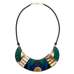 Talulah Wise Wing Necklace in Emerald and Gold - hardtofind.