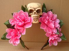 Pink Flower Skull Headband Floral Hair Accessory Costume Day of the Dead Halloween Autumn Fall Harvest
