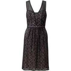 Adrianna Papell Sweetheart Sheer Fit and Flare Dress, Black ($110) ❤ liked on Polyvore featuring dresses, black dress, black lace cocktail dress, lace dress, black mini dress and fit and flare dress